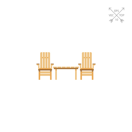 Wooden Garden Chairs And Table Icon