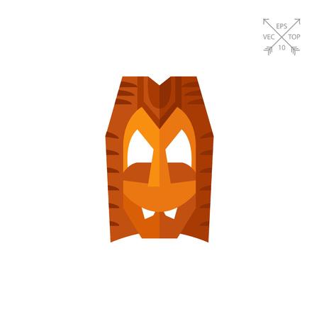 Máscara de Hawai de madera vector icono Vectores