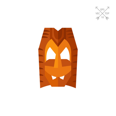 tallado en madera: Máscara de Hawai de madera vector icono Vectores