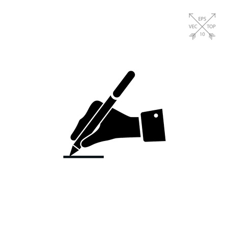 hand holding paper: Writing hand Illustration