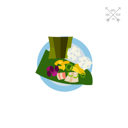 Top view of laulau on plate icon Illustration