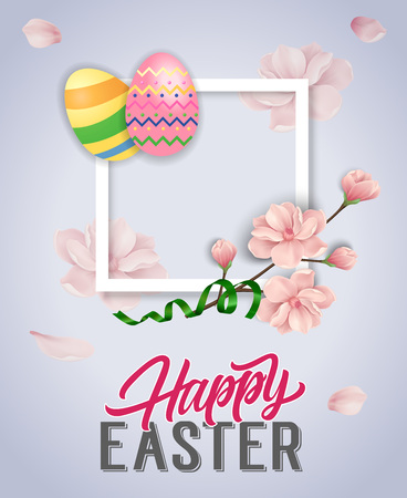 Happy Easter Lettering, Streamer and Eggs Illustration
