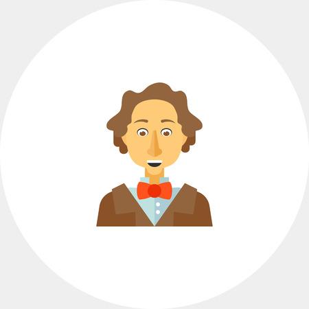 celebrities: Hans Christian Andersen icon Illustration