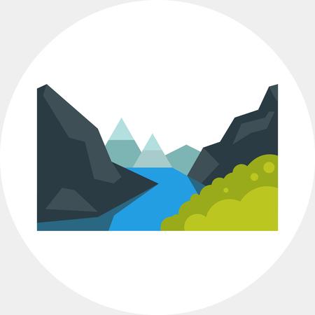 Majestic Geiranger fjord icon Illustration