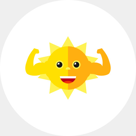 Strong sun flexing muscles icon Illustration