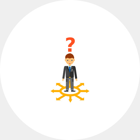 right choice: Businessman at choice of right solution Illustration