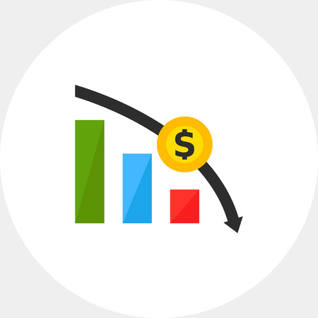 Financial crisis graph icon Illustration