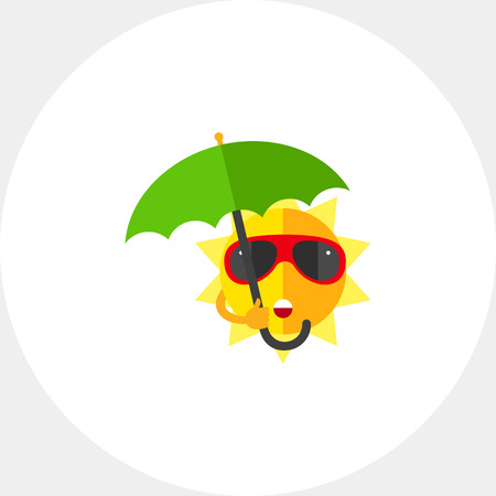 Sweating sun with sunglasses and yellow parasol. Summer resort, tropical climate, sunburst, shade. Summer concept. Can be used for topics like beach, health, safety sunbathing