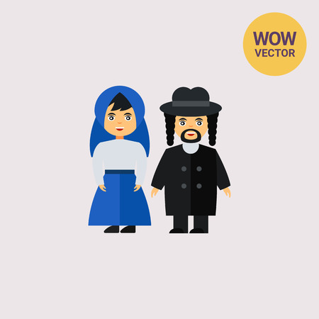 jews: Jews in traditional dress icon Illustration