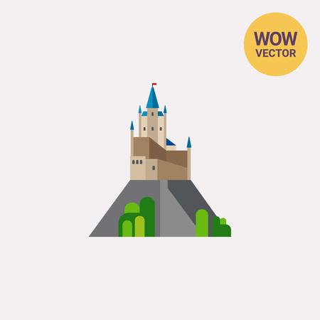 Alcazar of Segovia on rocky crag icon Illustration