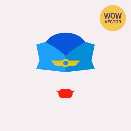 azafata icono azul gorra de uniforme Ilustración de vector
