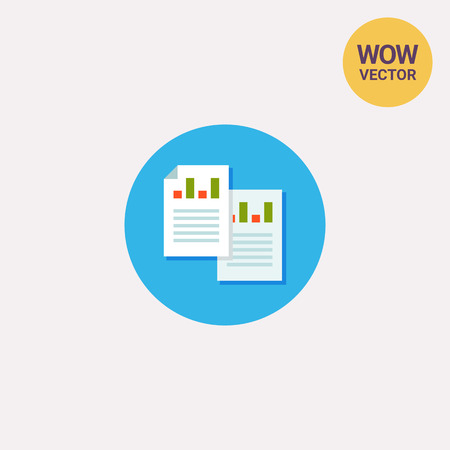 Icon of two business documents with graphs and texts: one paper with folded corner. Paperwork, document, analytics. Business concept. Can be used for topics like business, report and analytics