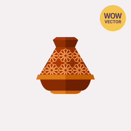 Vector icon of brown ceramic tajine. Traditional crockery, souvenir, hot dinner. Morocco concept. Can be used for topics like national crockery, national cuisine, travel