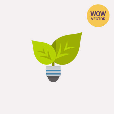 Green light with leafs and bulb icon Illustration