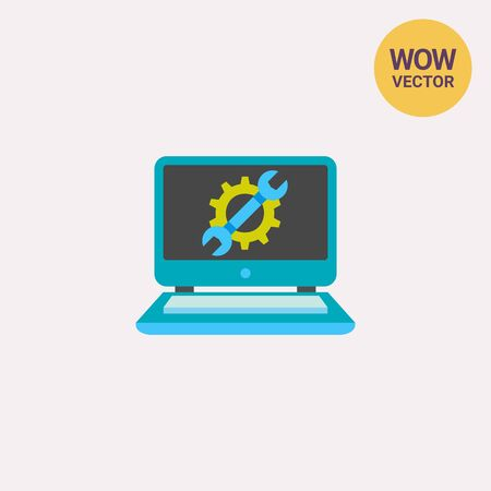 laptop repair: Laptop with cog and wrench repair Illustration