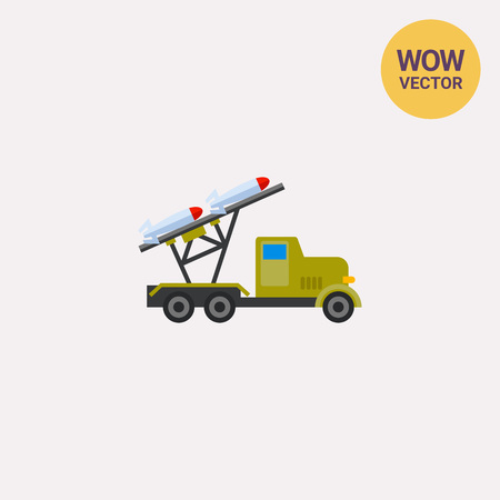 Mobile military rocket launcher icon