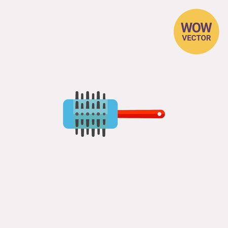 comb: Icon of professional comb to add volume to hair on white background. Comb, toothed instrument, hair style. Barbershop concept. Can be useful for topics like barbershop, beauty or hairdressing