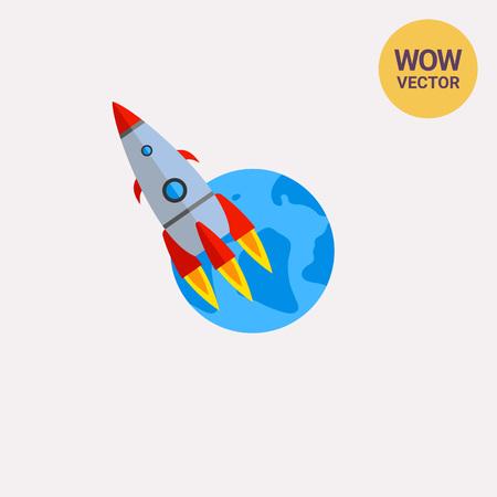 ロケットが地球上空を飛んでいます。遡上、セットアップ、宇宙飛行士。スタートアップのコンセプトです。ビジネス、科学、技術のようなトピックに使用できます。