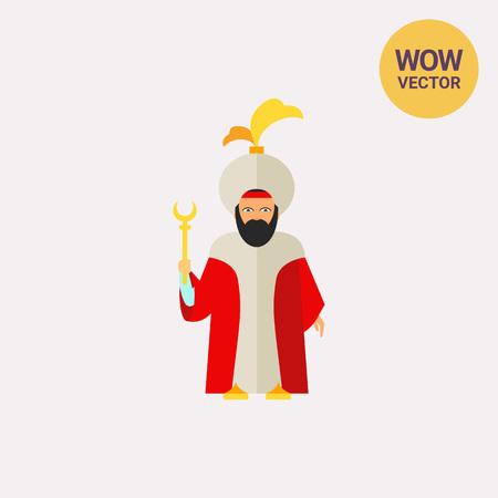 Icône de sultan turc barbu en tenue traditionnelle tenant le personnel. Pouvoir, souverain musulman, autorité. Concept de la Turquie. Peut être utilisé pour des sujets comme la culture, le rang noble ou la monarchie Vecteurs