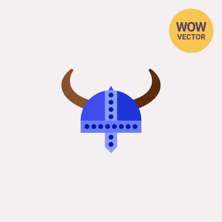 Vector icon of blue horned Viking helmet. Vikings, armor, souvenir. Denmark and Viking concept. Can be used for topics like travelling in Denmark, Viking age, history