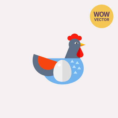 aviculture: Icon of blue hen with egg on body symbolizing aviculture. Healthy food, farm products, breeding birds. Farm concept. Can be used for topics like aviculture, farm or birdkeeping