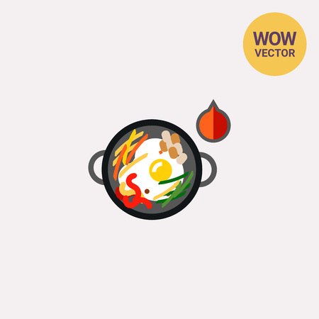 Icon of hot bibimbap in cooking pan. Fried egg, vegetables, dish. Korea concept. Can be used for topics like eating, cuisine or food