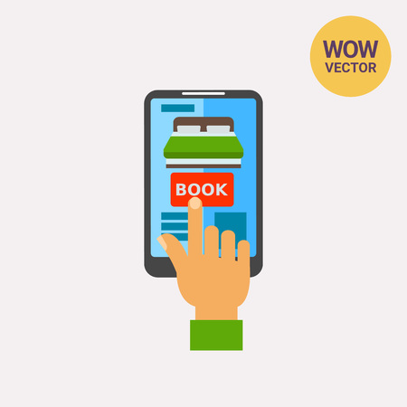 responsive design: Icon of index finger touching smartphone screen for reservation hotel.