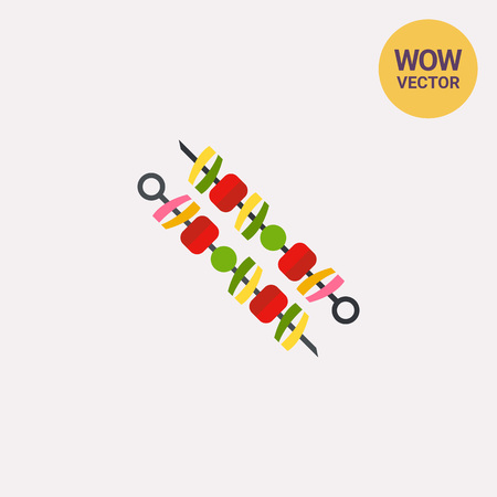Icon of two adana kebabs mounted on skewers. Minced meat, barbecue, grill. Turkey concept. Illustration