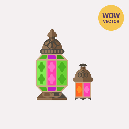 Moroccan glass lantern vector icon