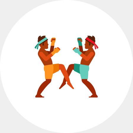 knocking: Thai men boxing icon Illustration