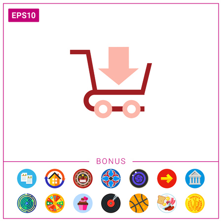 Icon of shopping cart with down-directed arrow.