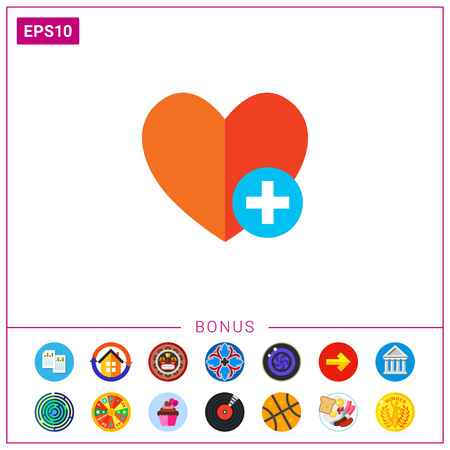Icon of red heart sign with plus depicting Add to favorites icon.