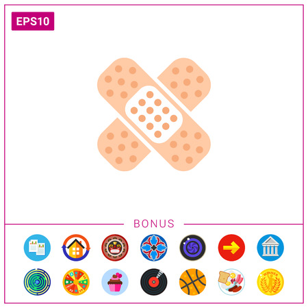 Icon of crossed pieces of adhesive plaster.