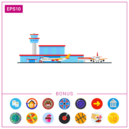 Airport Terminal and Liners Vector Icon