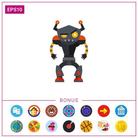 Angry Humanoid Robot Icon