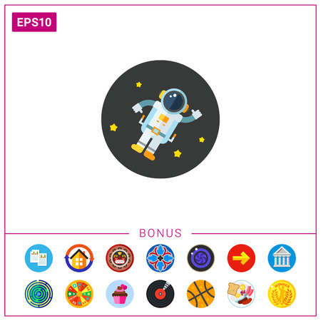 zero gravity: Astronaut in Outer Space Icon Illustration