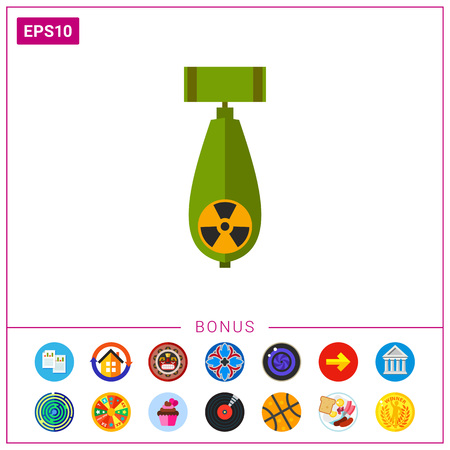 dangerous: Atomic Bomb with Radiation Sign Icon