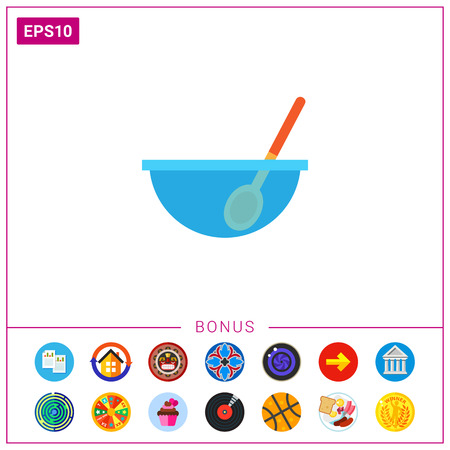Bowl with spoon illustration