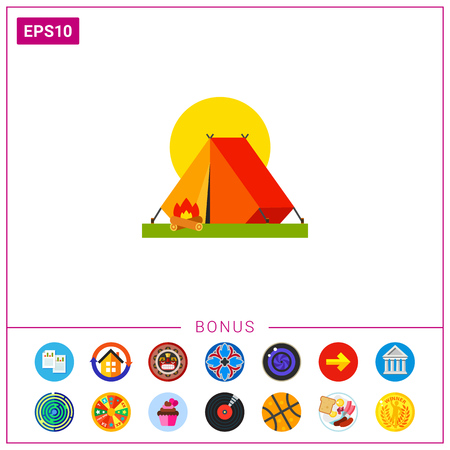 Camping Tent Vector Icon Illustration