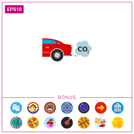 Car Emitting Carbon Dioxide Vector Icon