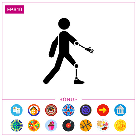 Amputated Arm and Leg Icon Stock Vector - 76608144