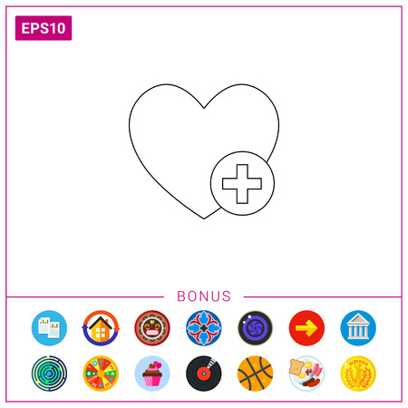 Heart and plus sign. Interface, content, online. Adding to favorite concept. Can be used for topics like Internet, technology, electronics, social media.