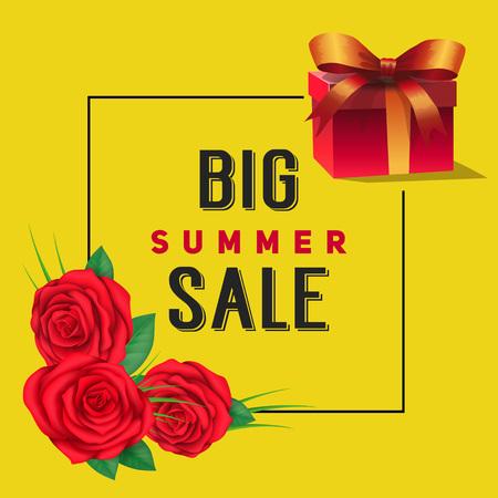 Big Summer Sale Lettering, Roses and Gift Illustration