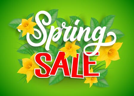 Spring Sale Lettering and Daffodils