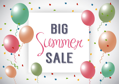 Big Summer Sale Lettering With Balloons