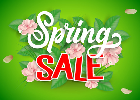 Spring Sale Lettering and Flowers