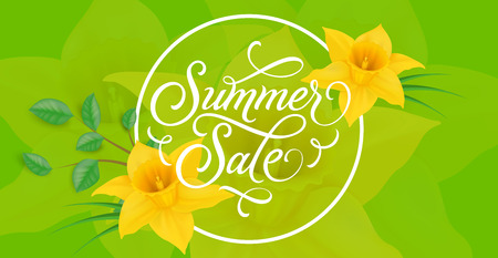 sellout: Summer Sale Lettering With Daffodils Illustration