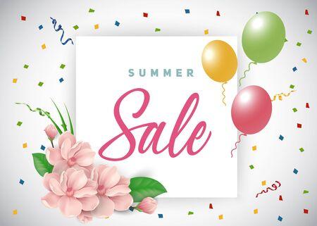 Summer Sale Lettering, Flowers, Balloons