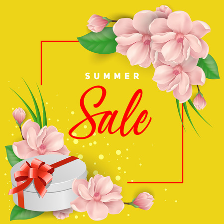 Summer Sale Lettering, Gift and Flowers