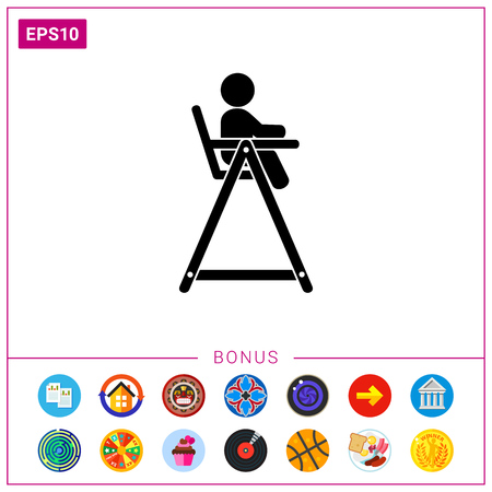 stool: Child sitting in high chair for feeding. Baby chair, childhood, furniture. Baby concept. Can be used for topics like childhood, baby feeding, furniture